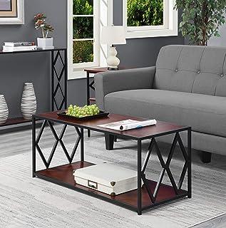 Convenience Concepts Diamond Metal Coffee Table, Cherry / Black