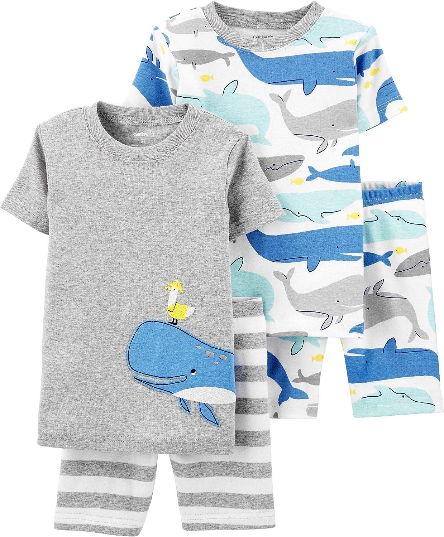 Carter's 4-Piece Baby-boy Sung fit Cotton Pajamas (Blue Whale, 12m)
