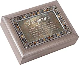 Cottage Garden Footprints in The Sand Precious Child Brushed Pewter Jewelry Music Box Plays Amazing Grace