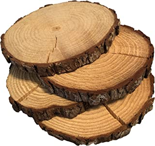 """5 Pack Round Rustic Woods Slices with Cracks, 9""""-12"""", Unfinished Wood, Great for Weddings Centerpieces, Crafts"""