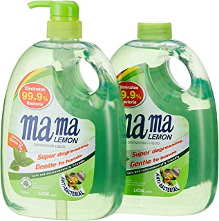 Mama Lemon Dishwashing Liquid, Green Tea, 1L Banded with 1L Refill