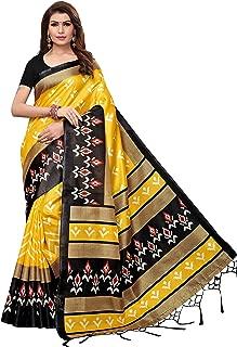 ETHNICMODE India Women's Art Silk Kalamkari and Bhagalpuri Style Saree with Blouse Piece (Multi-Color_Free_Size) Priya Yellow
