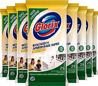 Glorix Schoonmaakdoekjes Lemon Fresh, Biologisch Afbreekbare Wipes voor 100% Hygiene - 12 x 25 doekjes - Voordeelverpakking
