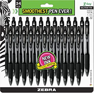Zebra Pen Z-Grip Retractable Ballpoint Pen, Medium Point, 1.0mm, Black Ink, 24 Pack