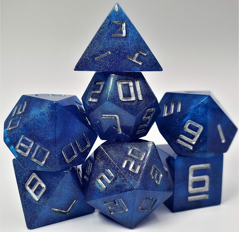 Sharp El Paso Mall Edge Resin Dice Mystic Silver w Fees free!! Sparkle Blue
