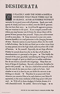 Brand, Made in USA. The Desiderata Poem by Max Ehrmann. 11 X 17 Poster on Taupe Card Stock.