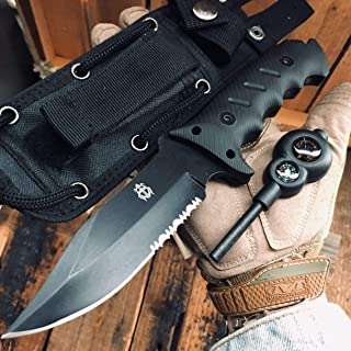 JGN Trading Heavy Duty Multi-Function Special Forces Tactical Fixed Blade Bowie Knife Outdoor Survival Rescue Knives Ergonomics G10 Anti-skidding Handle Military Combat Hunting Knives