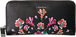 Calvin Klein - Key Item Floral Printed & Stud Embellished Saffiano Zip Around Wallet