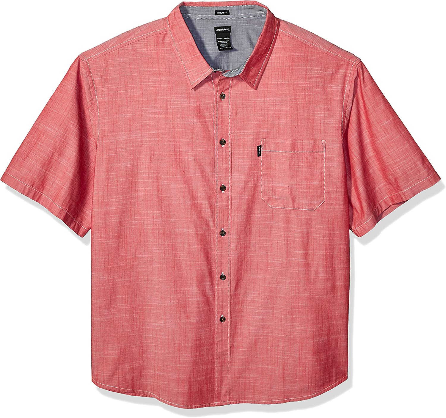 Short Sleeve Chambray Shirt with contrast collar