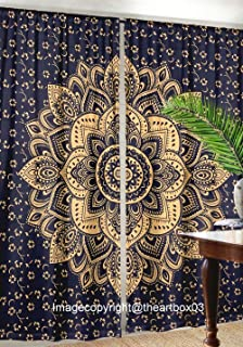 THE ART BOX Blue and Gold Window Curtains Indian Wall Room Darkening Window Drapes 82x27 Each Panel Tapestry Curtains