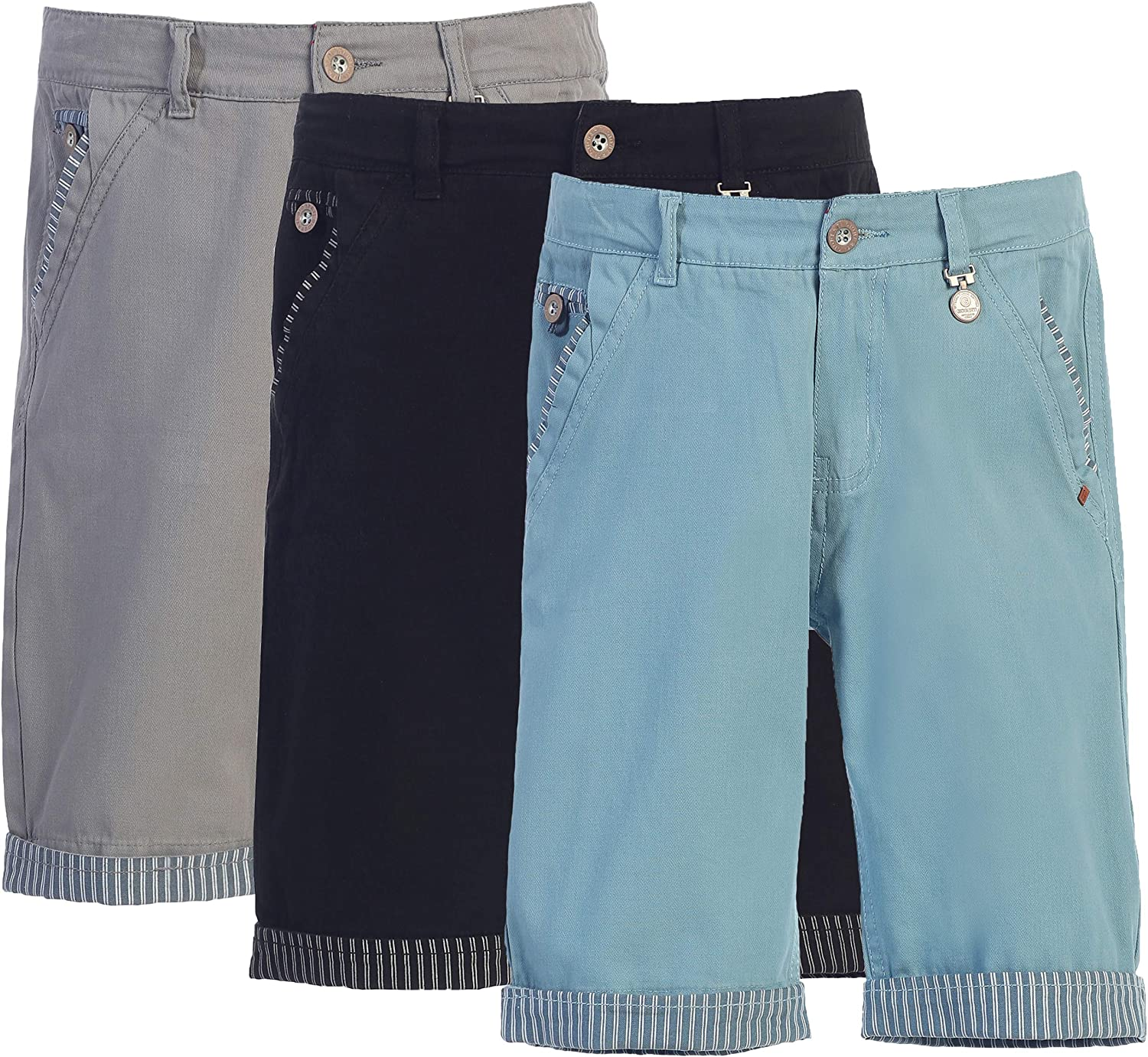 Gioberti Over item handling Boy's Max 82% OFF Garment Wash Casual Shorts Contrast with Stripe D