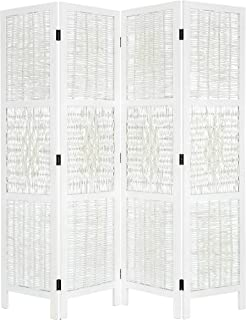 Legacy Decor 4 Panel Screen Room Divider Wicker and Wood White Color Diamond Design
