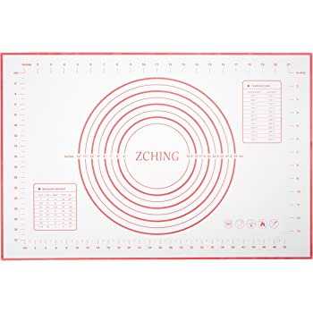 "ZCHING Silicone Pastry Measurement Not-Slip Rolling Dough Mats for Baking 24"" x 16"" (red), L W"