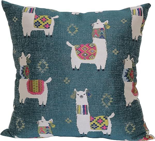 Brentwood Originals Llama Drama Pillow 18 X 18 Teal