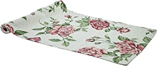Provence Cotton Table Runner with Roses in French Country Style, 47'' x 16'', Red Rose