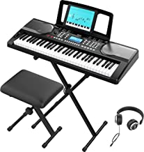 RIF6 Electric 61 Key Piano Keyboard - with Over Ear Headphon