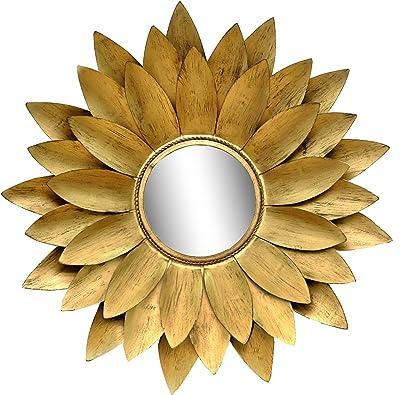 Logam Antique Gold Leaf Metal Decorative Round Wall Mirror, 72 x 72 x 10 cm