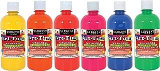 Sargent Art 17-4700 Art-Time 16oz, 6 Colors Washable Fluorescent Tempera Paints, 6 Piece
