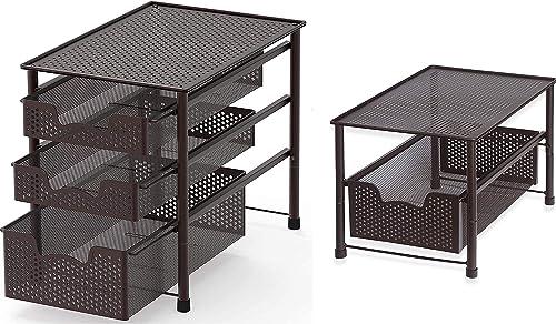 discount Simple Houseware Stackable popular 3 outlet sale Tier Sliding Basket + Single Tier Sliding Basket online sale