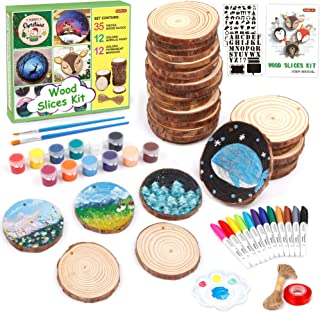 Wood Slices Kit, Shuttle Art 35 PCS Unfinished Natural Wood Slices with Pre-Drilled Hole, Acrylic Paint, Permanent Markers...