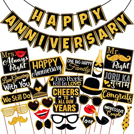 Wobbox Anniversary Photo Booth Party Props DIY Kit with Happy Anniversary Bunting Banner, Golden Gliter & Black , Anniversary Party Decoration All Dates