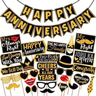 Wobbox Anniversary Photo Booth Party Props DIY Kit with Happy Anniversary Bunting Banner, Golden Gliter & Black , Annivers...