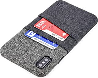 Dockem Luxe M2 Wallet Case for iPhone Xs Max: Built-in Invisible Metal Plate, Designed for Magnetic Mounting: Slim Canvas Style Synthetic Leather Card Case: M-Series [Black and Grey]