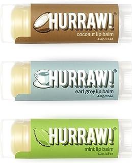 HURRAW! Coconut, Earl Grey, Mint Lip Balms Bundle: Organic, Certified Vegan, Certified Cruelty Free, Non-GMO, Gluten Free, All Natural Luxury Lip Balm Made in USA – COCONUT, EARL GREY, MINT (3 Pack)