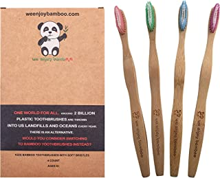 Natural Organic Eco Friendly Bamboo Toothbrush Adult Medium Nylon Bristles, 100% Plastic Free & Biodegradable Handle & Packaging, Sustainable Dental Care, 4-Pack