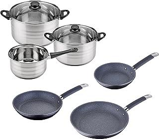 Set Batería de cocina SIP 5 piezas (cazo + dos ollas con tapa de vidrio)  + Set de Sartenes SIP Ø20/24/28 cms., aluminio forjado, mango tubular con revestimiento de silicona, inducción