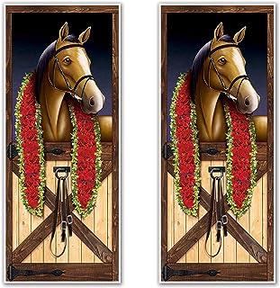 """Beistle 53386 Horse Racing Door Covers 2 Piece, 30"""" x 6', Multicolor"""