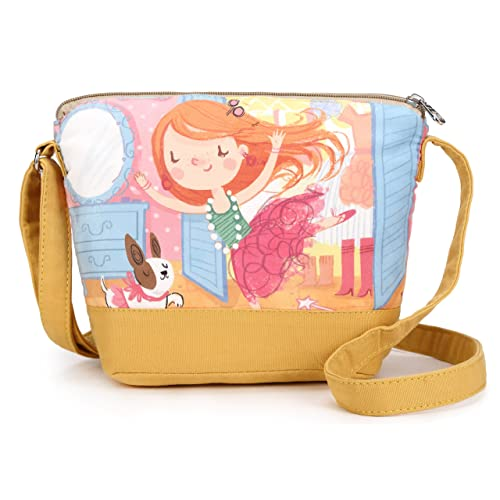 4c6f82865 Crest Design Whimsical Canvas Cross-body Shoulder Bag for Girls and  Teenagers