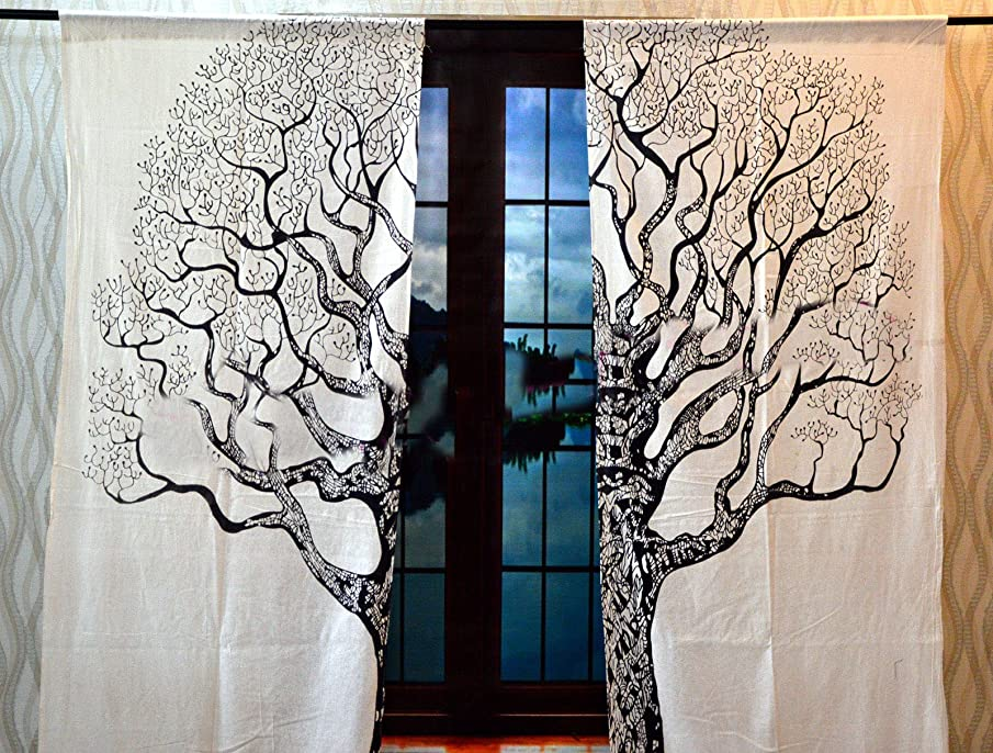 Sugun Tree Of Life Room Darkening Window Treatments Black & White Mandala 2 Curtain Panels Set For Living Room Bedroom/Etc By Creation - Size 82 x 41 inches