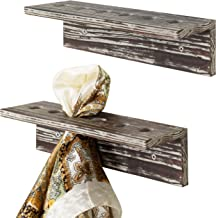 MyGift Wall-Mounted 12-Inch Rustic Torched Wood Scarf Organizer Display Racks, Set of 2