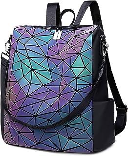 Women Geometric Luminous Backpack Handbag Fashion Shoulder Bag Lingge Flash Travel Rucksack
