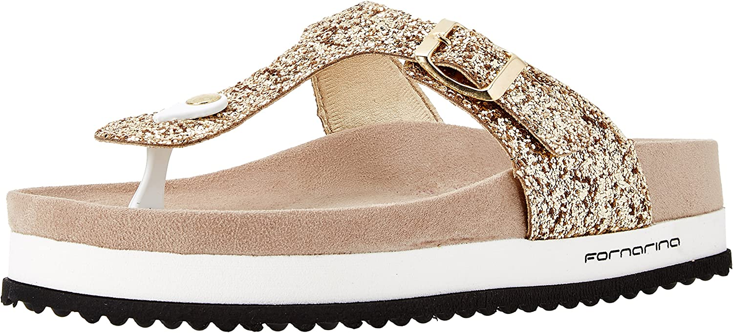 Fornarina flip Flops Woman with gold Glittery Wedge Pattern Star 2 PE18SA2911G091 New Spring Summer Collection 2018