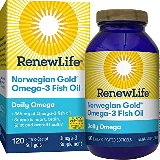 Renew Life® Norwegian Gold® Gold Adult Fish Oil - Daily Omega, Fish Oil Omega-3 Supplement - Gluten & Dairy Free - 120 Burp-Free Softgel Capsules