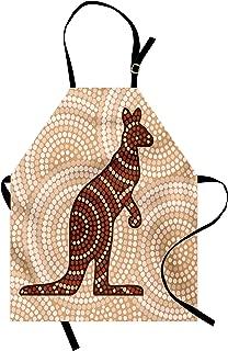 Ambesonne Tropical Animals Apron, Aboriginal Kangaroo Motif Cream Toned Circling Dot Design, Unisex Kitchen Bib with Adjustable Neck for Cooking Gardening, Adult Size, Redwood Brown