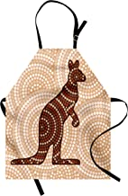 Ambesonne Tropical Animals Apron, Aboriginal Kangaroo Motif Cream Toned Circling Dot Design, Unisex Kitchen Bib with Adjustable Neck for Cooking Gardening, Adult Size, Redwood Brown