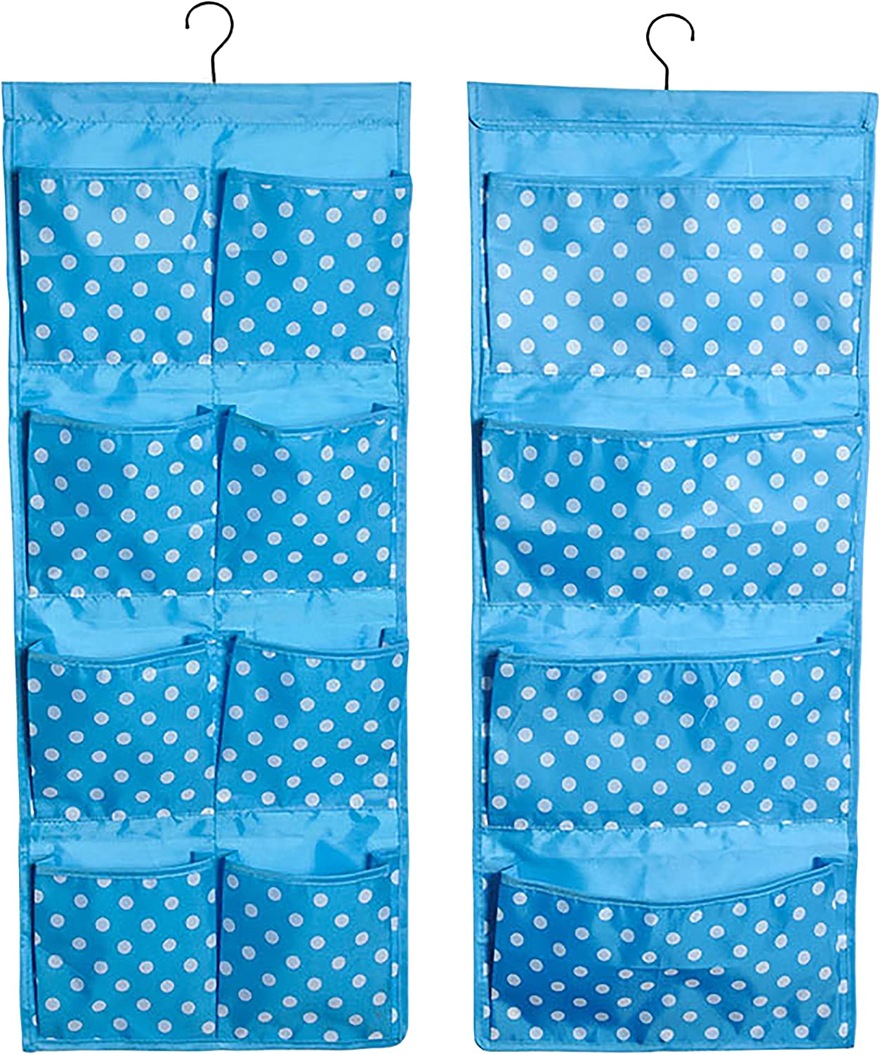 Over the Door Hanging Organizer Double Sided With 4 Large Pockets on One Side and 8 Smaller Pockets on the Other Side - Changing Table or Crib, Kids Bedroom, Nursery, Playroom, Pantry -Blue Poka Dots