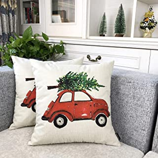 Booque Valley Christmas Throw Pillow Covers, Pack of 2 Car with Tree Decorative XMAS Cushion Covers, Hand Stitched Golden Jingle Bells on Poly Linen Pillows Cases, 18 x 18 Inch(Red Car with Gree Tree)