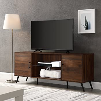 """Walker Edison Furniture Company Mid Century Modern Wood Universal Stand for TV's up to 65"""" Flat Screen Cabinet Door and Shelves Living Room Storage Entertainment Center, 60 Inch, Dark Walnut"""