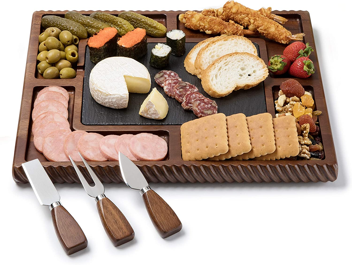 Shanik Upgraded Max 79% OFF Acacia Cheese Board Square Safety and trust Set Shaped Charcuter