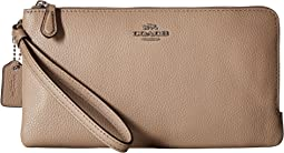 Polished Pebbled Double Zip Wallet