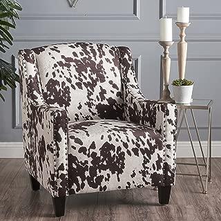 Christopher Knight Home Elisabeth Arm Chair, Milk Cow + Dark Brown