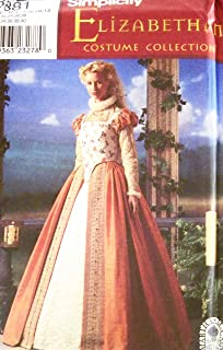 Simplicity 8881 Historical Elizabethan Gown Costume Sewing Pattern Size 6-12