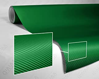 VViViD Dark Green Carbon Fiber Car Wrap Vinyl Roll with Air Release Adhesive Technology (1ft x 5ft)