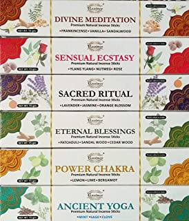 raajsee Incense Sticks Aromatherapy Collection 6 Pack Variety Set 15gm Each , Magical Blends of Different Natural Herbs- 1...