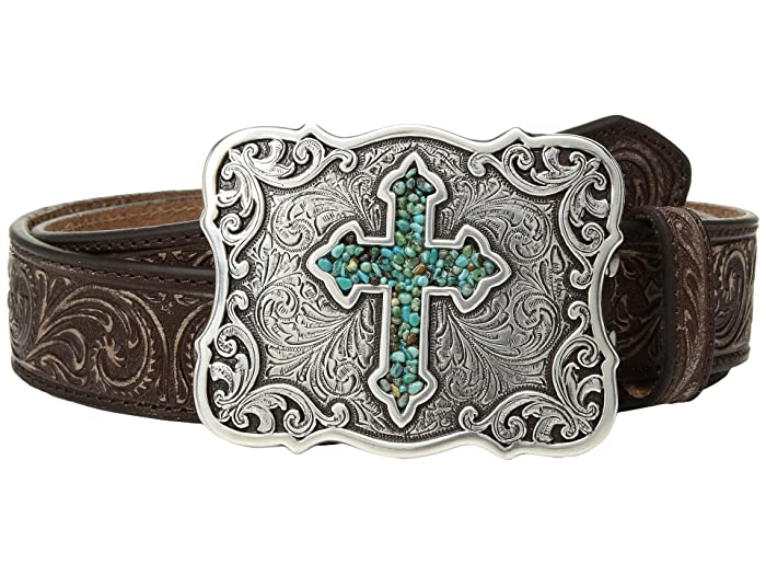 M&F Western Scroll Pierced Turquoise Cross Belt (Brown) Women