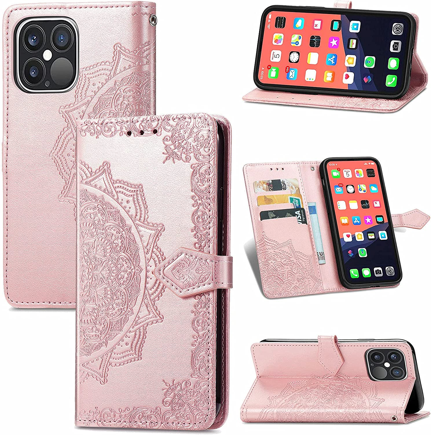 ISYSUII Wallet Case for Samsung Galaxy A51 4G Emboss Mandala Flower Pattern Flip Case PU Leather Magnetic Kickstand Cover with Card Slots Shockproof Protective Cover for Women Girls,Rose Gold
